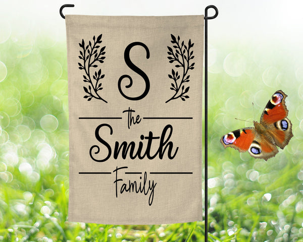 12x18 faux burlap garden flag, add family name, double sided print, pole not included