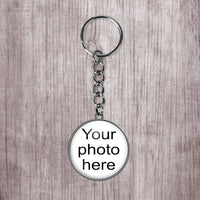 Customize, add a photo to this beautiful silver stainless steel keychain