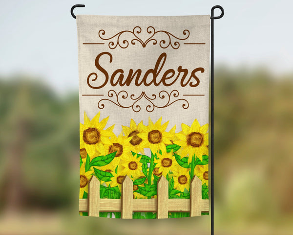 12x18 faux burlap garden flag with sunflowers design, add family name, double sided print, pole not included