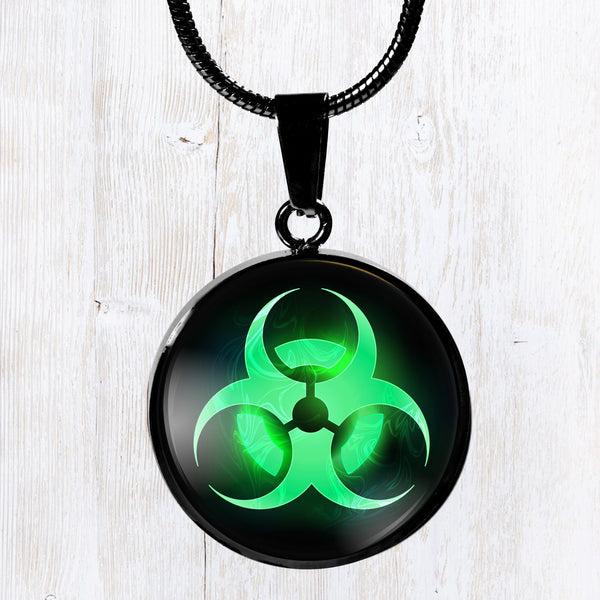 Green biohazard symbol, design - stainless steel pendant necklace - Great gift idea