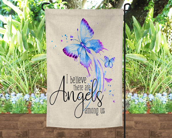 12x18 Faux Burlap garden flag, I believe there are angels among us, beautiful butterflies design, pole not included