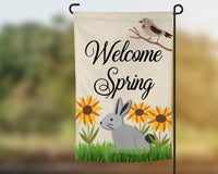 12x18 Faux Burlap garden flag, welcome spring design, sunflowers and bunny options, pole not included