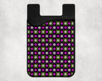 Phone wallet, card caddy with purple flower pattern, calming design