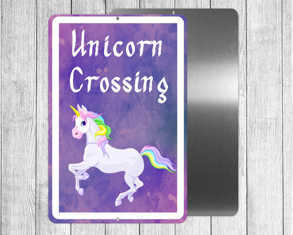Unicorn crossing, funny sign for yard, house, printed on 8x12 aluminum