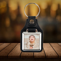 Photo key-chain - add a photo or design to square area on this leather backed keychain