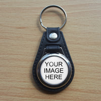 Photo key-chain - we can create it - add photo to round circle with leather backing keychain - great gift for anyone