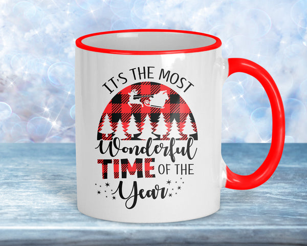 Most wonderful time of the year, plaid design Christmas coffee mug, 11oz ceramic with red accents