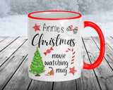 Custom Christmas movie watching coffee mug, 11 oz ceramic with red accents, personalize with name