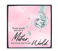 Mother you are the world to me saying with beautiful rose design necklace in box