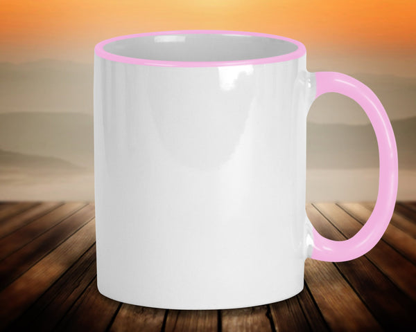 Coffee mug, 11 oz ceramic with pink handle, rim accents