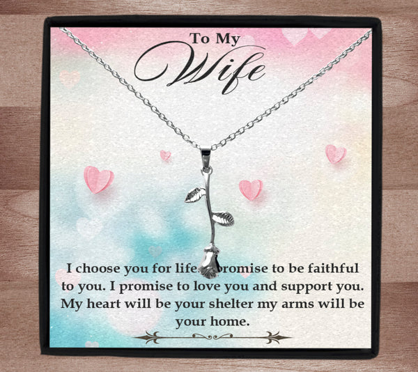 To my wife, I choose you rose necklace in gift box