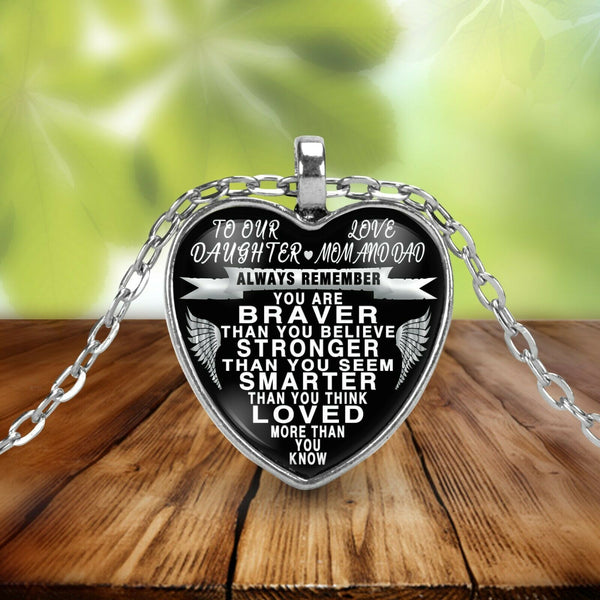 To my daughter from mom and dad - always remember quote pendant necklace