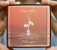 Dear mom, I love you beautiful rose design necklace in box