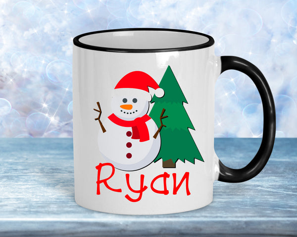 Snowman Hot Cocoa mug,  personalize with name 11oz ceramic
