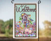 12x18 garden flag, welcome. spring design, double sided print, pole not included