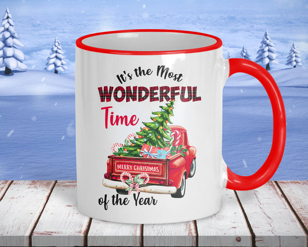 Most wonderful time of the year, Christmas coffee mug, 11 oz ceramic with red accents