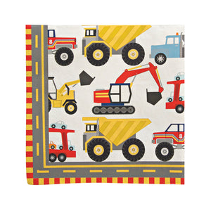 "Featuring lots of vehicles with BIG wheels and heavy duty machinery and surrounded by a geometric road style pattern these party napkins are perfect for a party for machine mad tots.  Size: Folded size: 5"" x 5"" Quantity: 16 napkins"