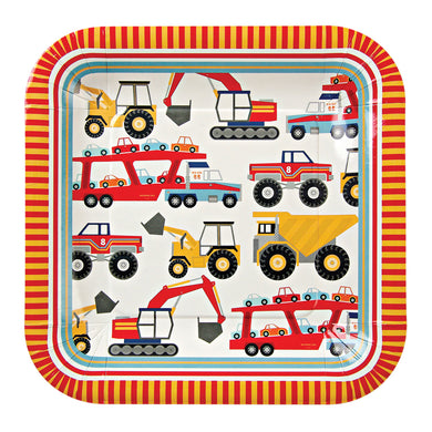 A fabulous paper plate for a party of little mechanics featuring a host of Big Rig machines including diggers, tippers and car transporters. The plate is bordered with a colourful striped pattern.  Size: 9 1/4