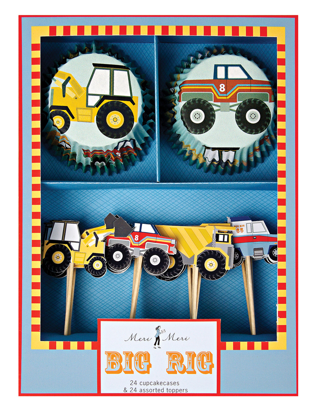 The Big Rig cupcake kit features all the mega machines a mechanic tot goes mad for. Including four styles of topper with diggers, monster trucks, tippers and tow trucks and with two styles of cupcake cases.  Quantity: 24 cupcake cases and 24 assorted toppers in 4 designs