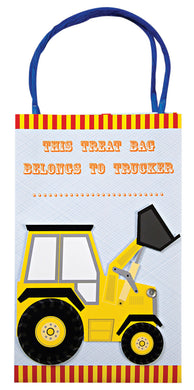 A Big Rig party bag featuring a yellow digger and headed with the message This Treat Bag belongs to Trucker . . . . Surrounded with bright colors and geometric patterns the bag comes with bright blue string carry handles.  Bag size: 8 x 5 x 3 inches.