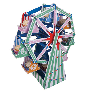 Roll-up, roll-up for the Toot Sweet celebration where, you will be amazed to see the one and only Cupcake Ferris Wheel! It holds 8 delicious delights to dazzle your guests.  Self assemble party center piece Assembled size: 9 x 17 x 20 inches