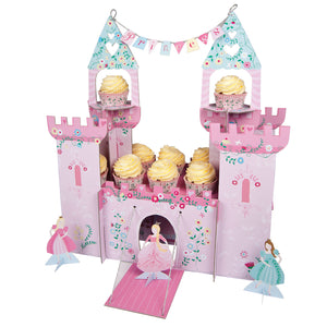 It's time to put on the flowing gown and tiara and head to the princess party castle. This beautiful party centerpiece comes complete with turrets, drawbridge and princess banner as well as princess figures. It also holds a host of cupcakes.  Single party centerpiece holding 22 cupcakes and with three princess, pop-up characters. Self assemble Assembled size: 8 x 18 x 20 inches