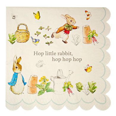 Though Peter Rabbit is now well over 100 years old, Beatrix Potter's charming creation is as beloved as ever, making him and his friends the perfect special guests for any celebration. That's why they feature on these simply delicious party napkins. Available in packs of 20 and featuring the ever charming Peter Rabbit and the classic words of Beatrix Potter,