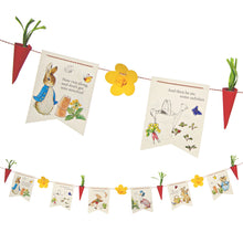 Create the perfect Easter garland with Peter Rabbit! This garland kit comes with everything you need to decorate a party with Beatrix Potter's timeless illustrations, and you can add a splash of spring color by adding 3d flowers and radishes complete with string embellishments. The pennants each have a separate design with characters from the Peter Rabbit stories. Pack contains: 6 flag pennants, 3 x 3d flower pennants, 4 x 3d radish pennants, 3 types of string. Garland size: 10 feet.