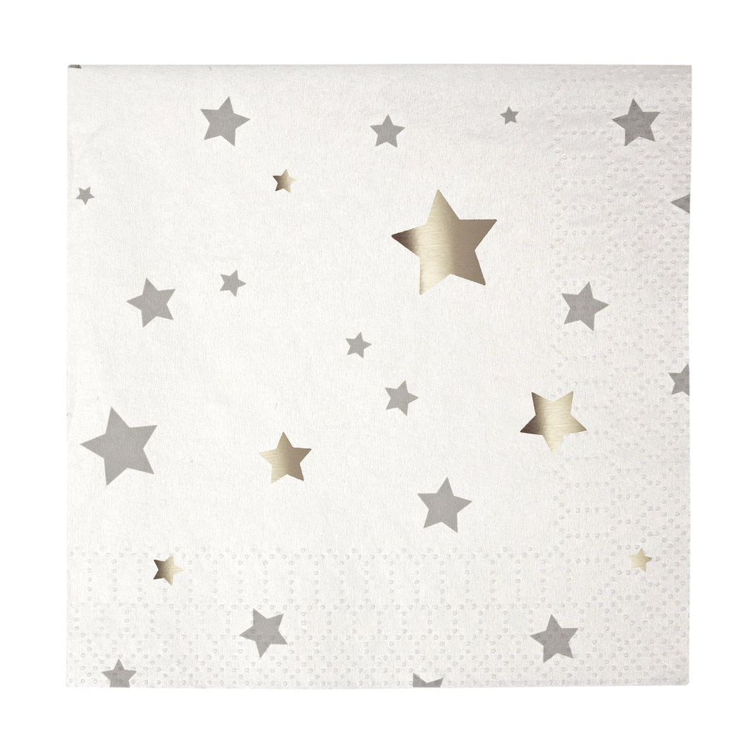 Whether you're decorating for Memorial Day, Independence Day, New Years Eve or a special birthday party, all events can benefit from a little bit of extra silver sparkle! That's why we've come up with these gorgeous party napkins, covered in an elegant star confetti pattern embellished with shiny silver foil - perfect for a stunning celebration!  Small Pack of 16 Silver foil detail Size: 5