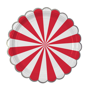 "Whether you're planning a game night gathering, a kid's party or holiday drinks, you can't go wrong with our Red Fan collection - high quality tableware featuring a bold red stripe, with beautiful silver foil. Plan your whole decor around this striking shade, or mix and match with other colours, patterns and themes.  Small Pack of 8  Silver foil detail Size: 7"" x 7"""