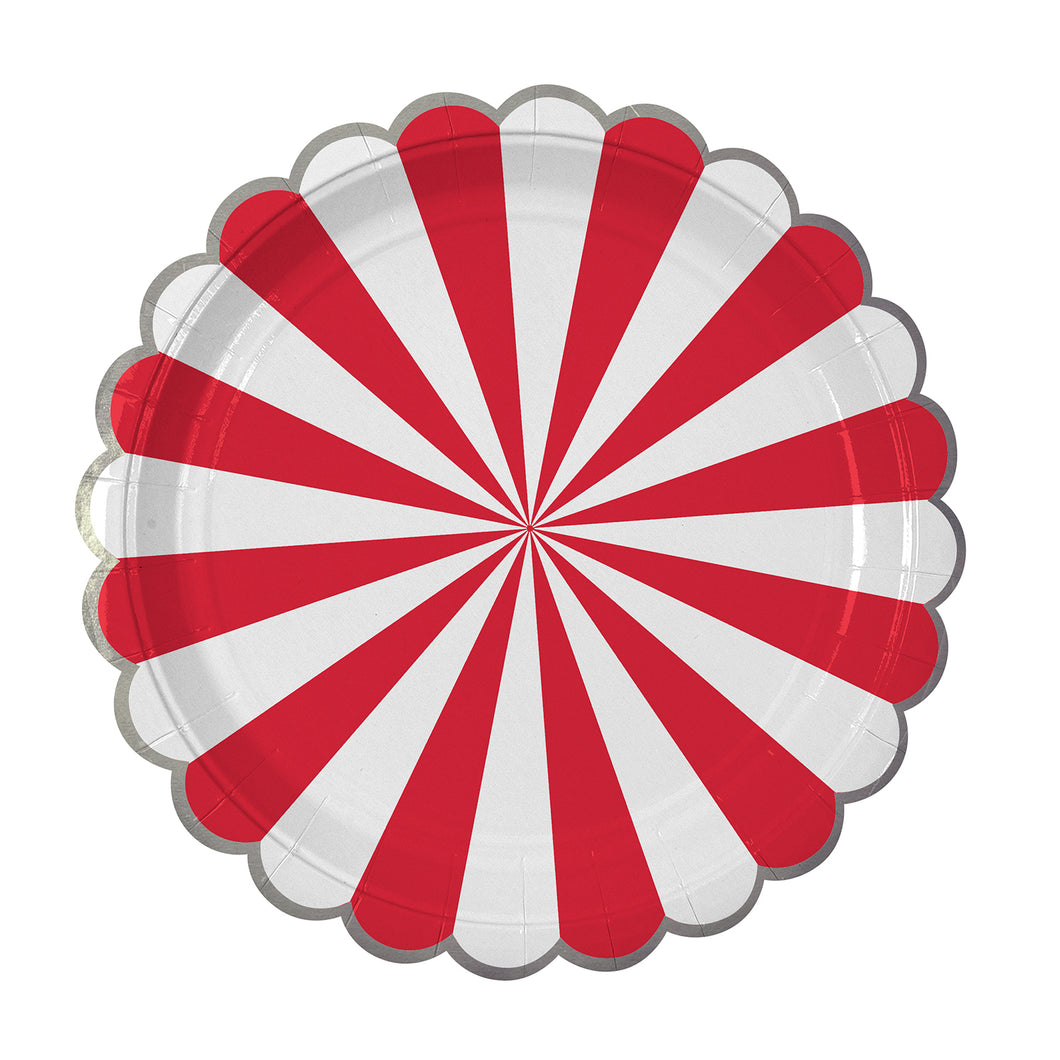 Whether you're planning a game night gathering, a kid's party or holiday drinks, you can't go wrong with our Red Fan collection - high quality tableware featuring a bold red stripe, with beautiful silver foil. Plan your whole decor around this striking shade, or mix and match with other colours, patterns and themes.  Small Pack of 8  Silver foil detail Size: 7