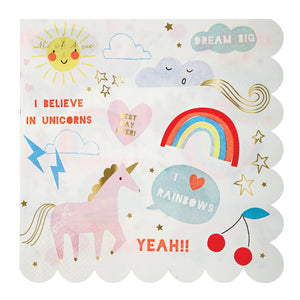 Your little one is pretty much convinced that unicorns are real, and to be honest, so are we... So we've put together a stunning party collection full of magic, rainbows and beautiful horses with glittering horns! These lovely napkins are decorated with unicorns and rainbows to guarantee magic, embellished with shiny gold foil and finished with a scallop border.   Large Pack of 16 Neon print & gold foil detail