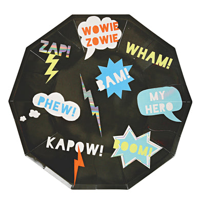 Whether it's underpants over pants, a cut-out mask or a dish cloth cape, if your little one is a wannabe superhero then you definitely need to check out our Super Hero party collection! These cool paper plates are full of electric energy, decorated with cartoon patterns embellished with shiny holographic silver foil.   Large Pack of 8 Neon print & holographic silver detail  size 9
