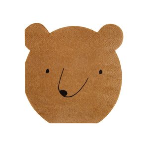 Throwing a party for someone who longs for adventure? Bring a touch of the wild into your party space (without calling in the zoo), with our brilliant Let's Explore collection. These adorable bear napkins come with sweet features and hilarious round ears - perfect for a little band of nature lovers!   Small Pack of 20 Die-cut