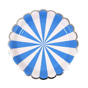 Blue Fan Stripe Plates (small) by meri meri