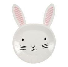 Set of 12 Bunny plates, perfect for Easter!  Set includes 3 colors of Bunny ears: orange, blue and pink