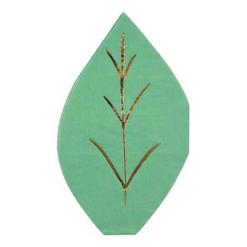 A set of leafy napkins, fresh from the jungle canopy, with a cut out shape in forest green, embellished with shiny gold foil. Pack of 16 Die-cut Green foil detail Size: 5