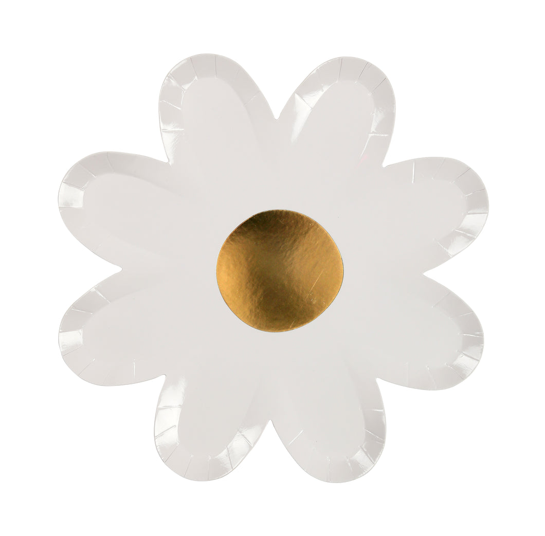 Putting together a baby shower, summer party, or planning a flower-power gathering? Save yourself the hassle of all that washing up at the end of the day, and get yourself a couple of sets of these adorable daisy plates. Available in packs of eight, with beautiful gold foil centres, these pretty little plates are sure to add a touch of stylistic beauty to any table!  Pack of 8 Gold foil detail Size: 8