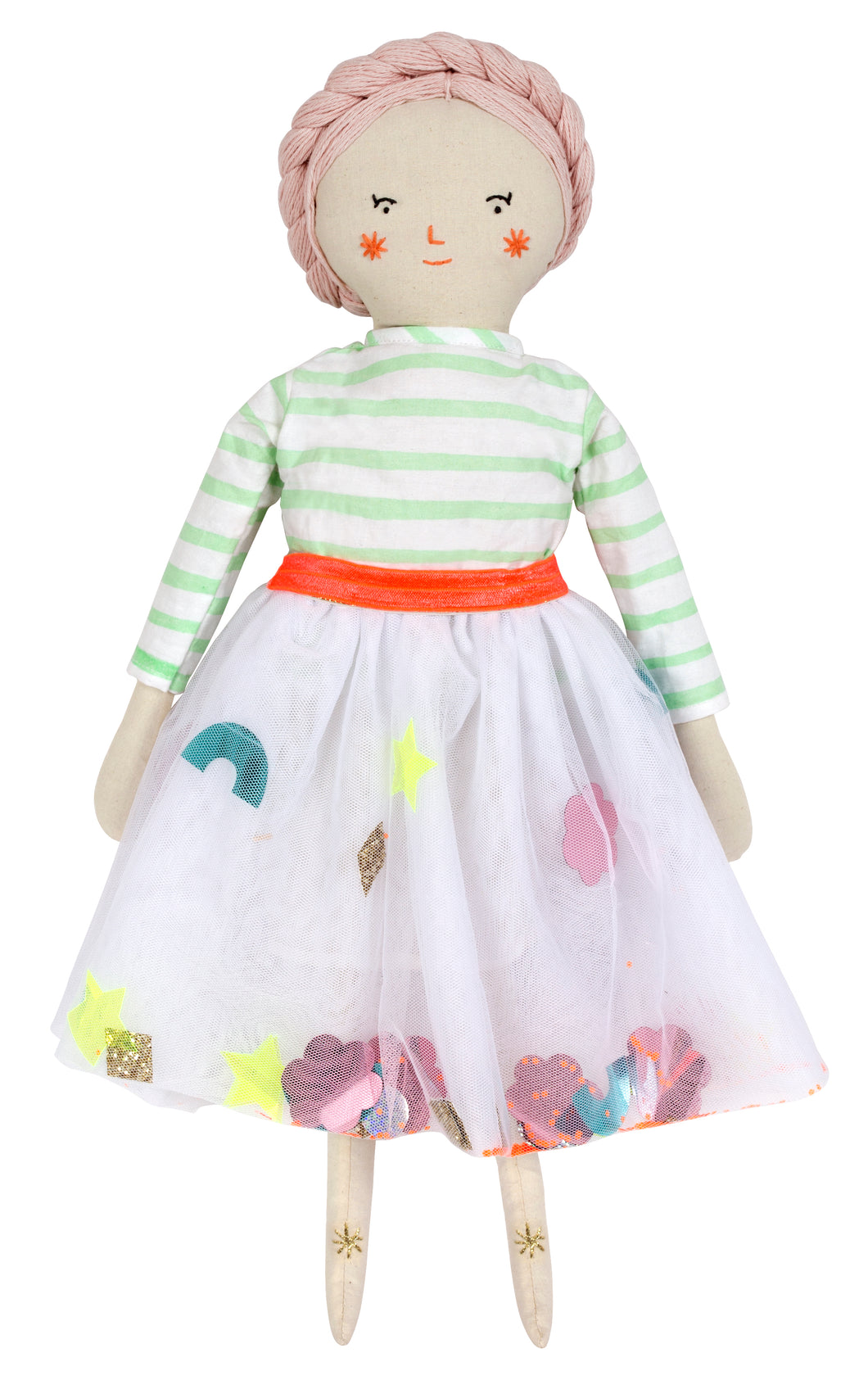 Meet Matilda! Dressed in green stripe shirt & white sequin skirt. Stitched features with pink yarn and gold thread detail.  She likes swimming in the sea, making soap bubbles and walking barefoot in the grass. Her besties are Ruby and Lila!  size 19