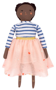 "Meet Ruby! Dressed in blue striped shirt & pink sequin skirt. Stitched features with black yard and gold thread detail.   Ruby likes baking, reading and climbing mountains!  She is besties with Matilda and Lila!  size 19"" tall and 7"" wide"