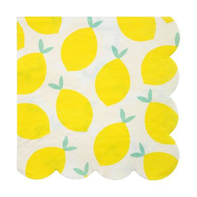 We know that when life hands you lemons, you're supposed to make lemonade, but we weren't quite sure how, so we went for this striking party collection instead... Create a fruity feeling with these bright party napkins, decorated with a pattern of lemons and finished with a scallop edge.  Small Pack of 20 Folded size: 5