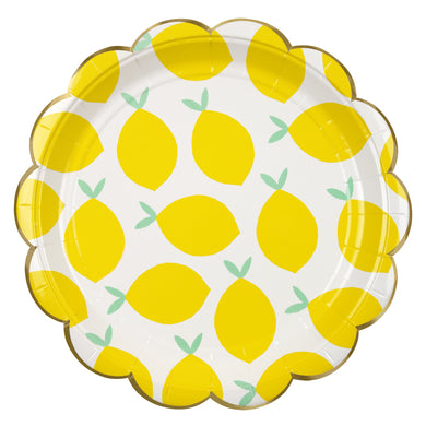 We know that when life hands you lemons, you're supposed to make lemonade, but we weren't quite sure how, so we went for this striking party collection instead... Create a fruity feeling with these bright party plates, decorated with a pattern of lemons and finished with a scallop edge and a gold band.  Small Pack of 8 Gold foil detail Size: 7