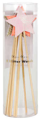 Pack of 8 fairy glitter star shaped wands in 4 colors. Colors include: pink, white, gold and hot pink.   Wooden handle, size 7 inches