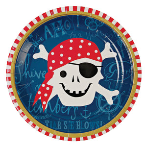Raise the anchor and get your timbers shivering, the pirate party is approaching on the starboard side! These pirate plates come illustrated with a smiling skull and crossbones surrounded with text and geometric patterns.  Pack contains 12 plates Plate size: 7 inches diameter