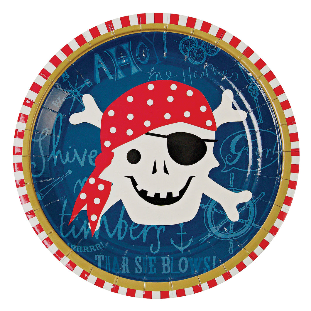 Ahoy There Pirate. Luxe party kit for 12!  Kit includes:  12 plates 12 cups 20 napkins 1 cupcake kit (24 cupcake cases & 24 toppers 12 party bags 1 red rectangular table cover 20 forks by Meri Meri