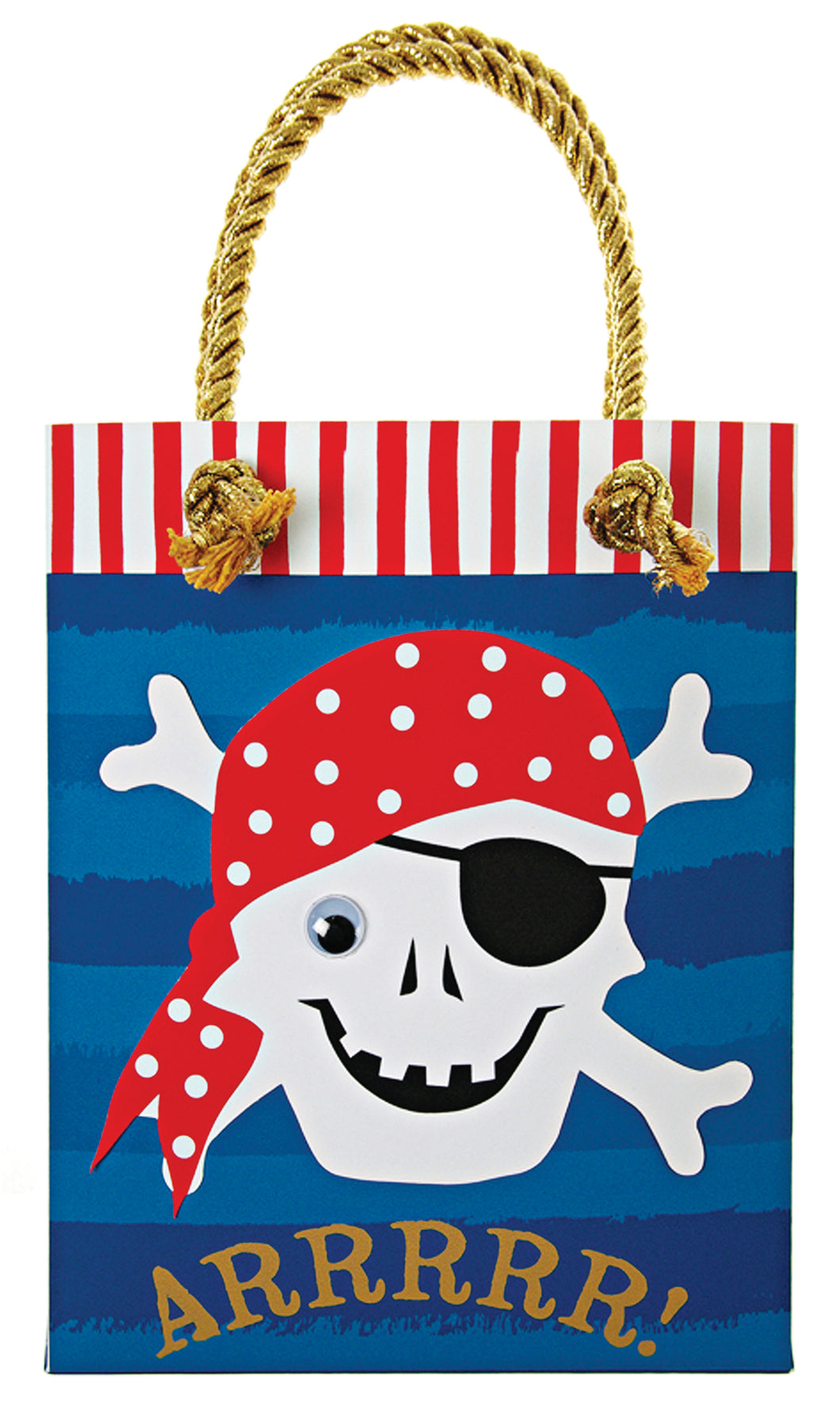 Sailing the seven seas can be a tough ask for a little party pirate so make sure they don't come to the end of their voyage without their loot! This party bag is decorated with a skull and crossbones motif with ocean patterns and stripes and is surrounded with a natural card border. It is embellished with a goggly bead eye and has gold rope handles. Size: 5 x 3 x 6 inches