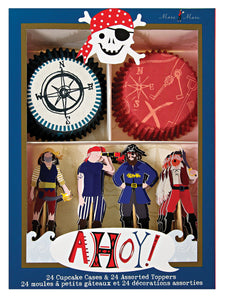 Ahoy There Pirate. 24 cupcake cases & 24 toppers, by Meri Meri