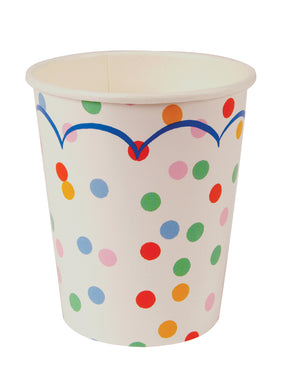 A scattered polkadot pattern in pastel colours provides the perfect decoration for these paper party cups  Pack contains 12 hot or cold party cups Cup size: 9oz Meri Meri