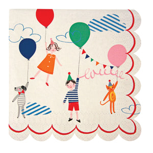 A fun napkin for a children's celebration with delightful illustrations of party tots and their pets with colored balloons. The napkin is finished with a scallop edge.  Pack contains 20 napkins Napkin size: 5 x 5 inches Meri Meri