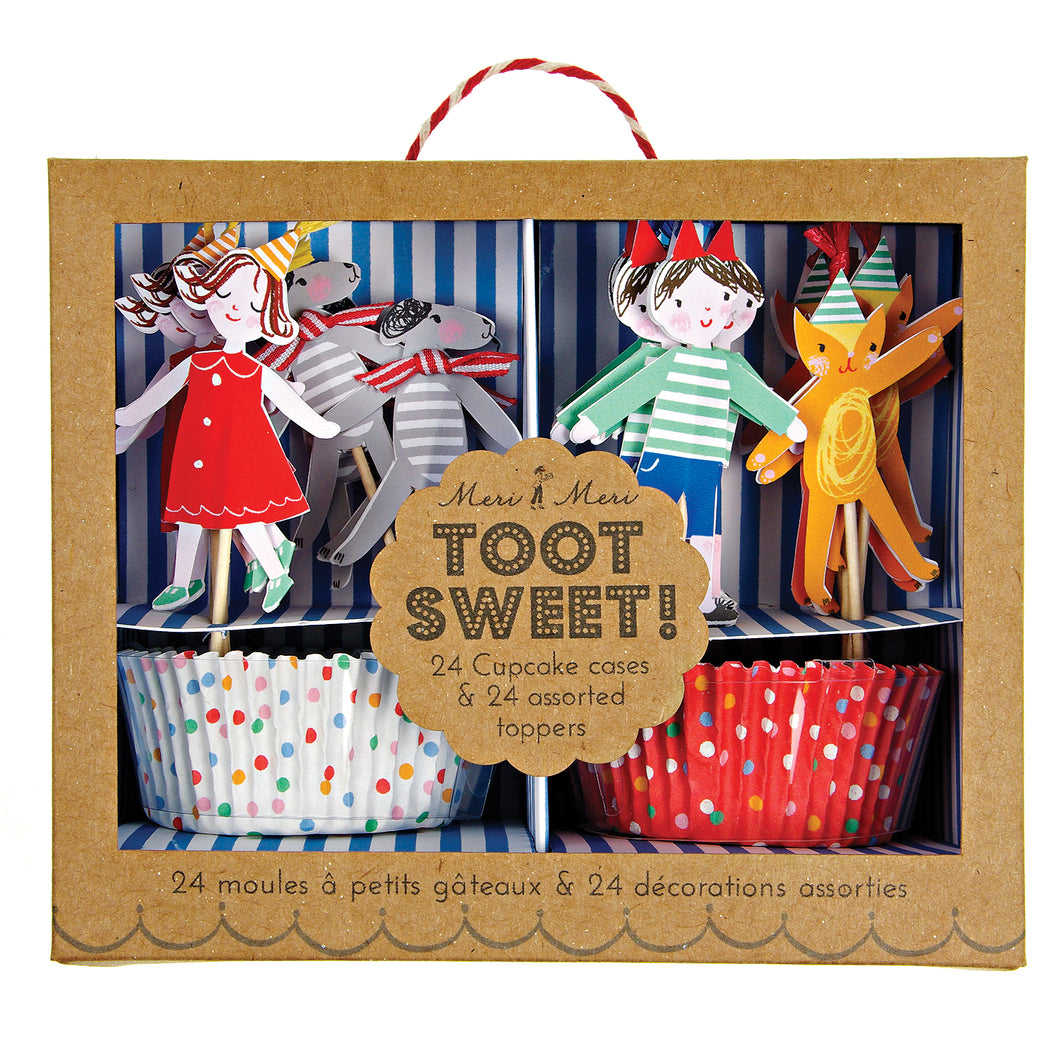 Children, Spots & Stripes, 24 cupcake cases & 24 cupcake toppers by Meri Meri